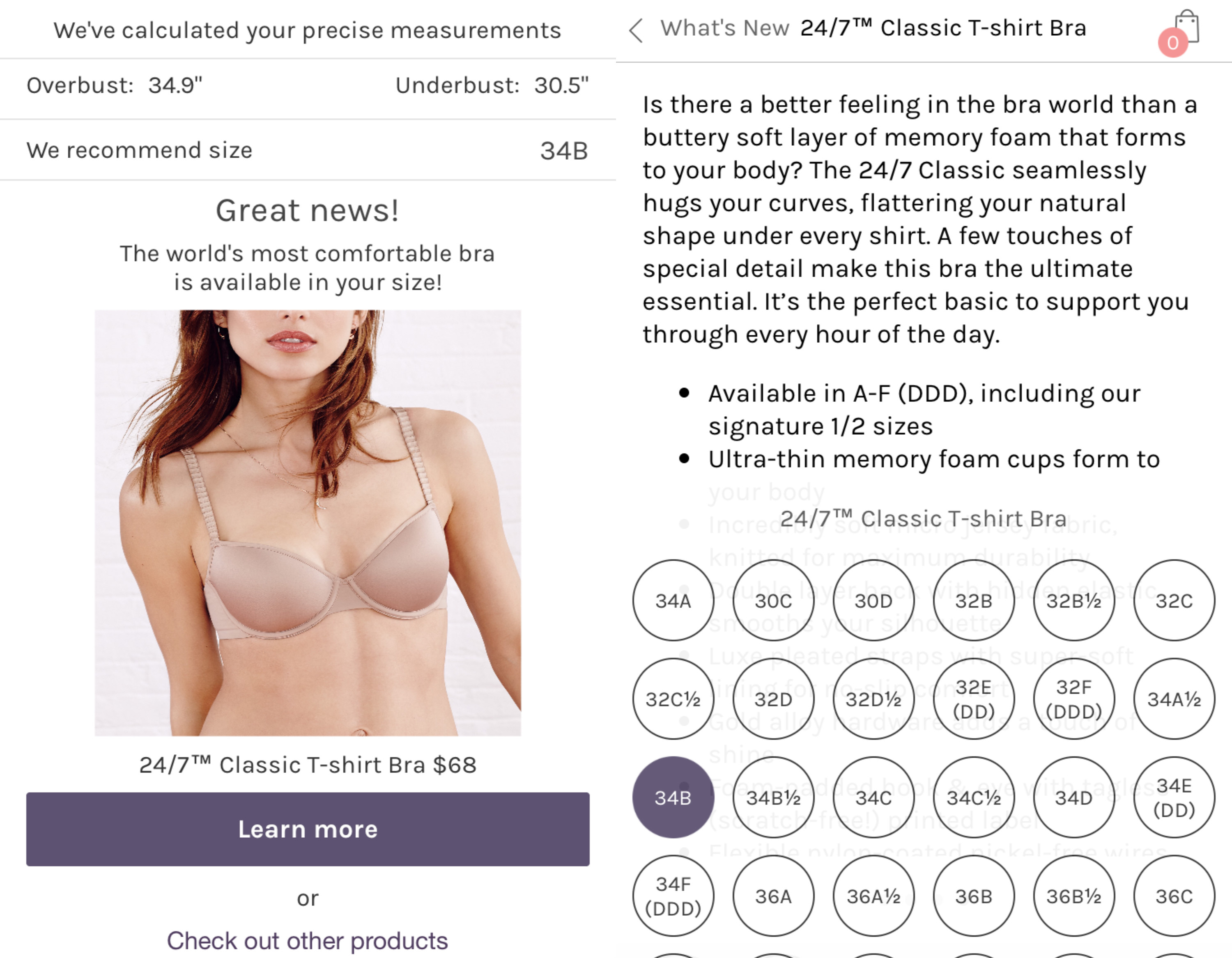 c3c2ccb6f441b The results. ThirdLove. The app gave me my current bra size ...