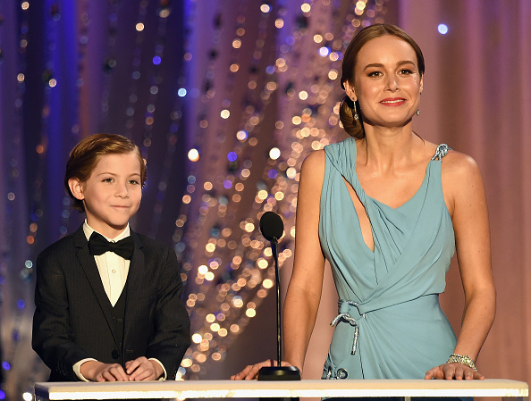 LOS ANGELES, CA - JANUARY 30: Actors Jacob Tremblay (L) and Brie Larson speak onstage during The 22nd Annual Screen Actors Guild Awards at The Shrine Auditorium on January 30, 2016 in Los Angeles, California. 25650_021  (Photo by Kevin Winter/Getty Images for Turner)