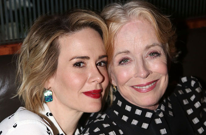 NEW YORK, NY - OCTOBER 20:  (EXCLUSIVE COVERAGE) Sarah Paulson and Holland Taylor pose at the Opening Night After-party for  Ripcord  at The Brasserie 8 and 1/2 on October 20, 2015 in New York City.  (Photo by Bruce Glikas/FilmMagic)