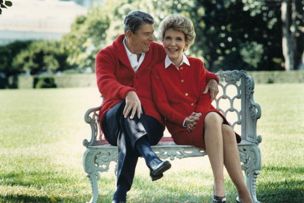 UNDATED: (FILE PHOTO)  Former U.S. President Ronald Reagan and First Lady Nancy Reagan share a moment in this undated file photo. Reagan turns 93 on February 6, 2004.(Photo courtesy of the Ronald Reagan Presidental Library/Getty Images)