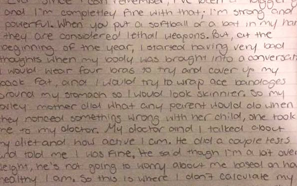 This 8th grader took a stand for body positivity and refused to calculate her BMI