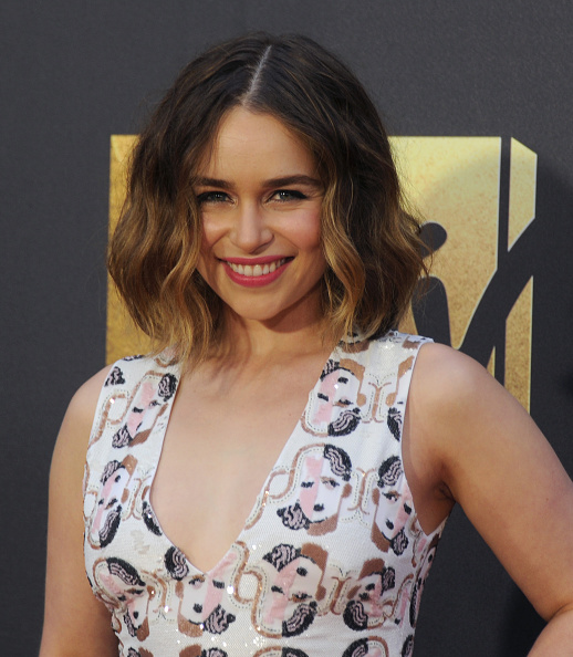 BURBANK, CALIFORNIA - APRIL 09:  Actress Emilia Clarke arrives at the 2016 MTV Movie Awards at Warner Bros. Studios on April 9, 2016 in Burbank, California.  (Photo by Gregg DeGuire/WireImage)