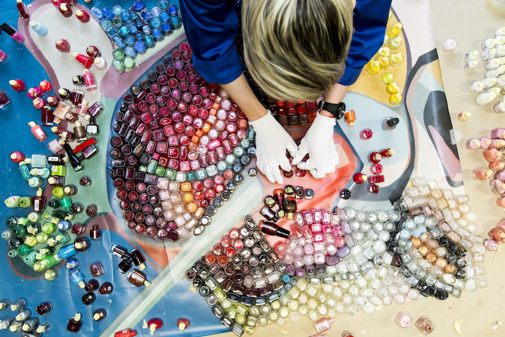 An Artist Made A Gorgeous Mosaic Out Of Almost 2 000 Nail Polish Bottles