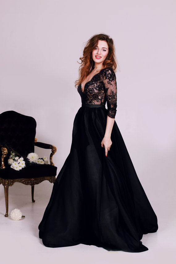 Cathytelle Black Lace Deep V Neck Wedding Dress With Long Sleeves 1 600