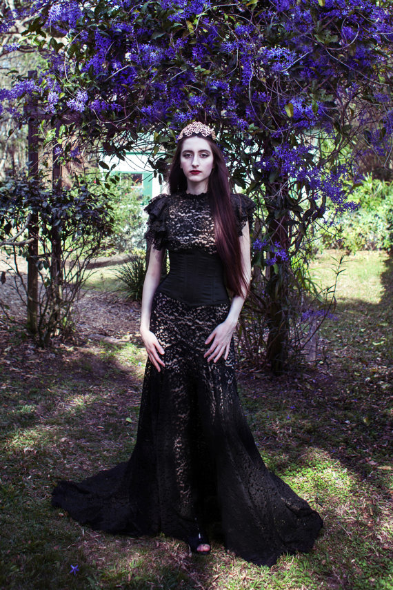 Xiaolindesign Gothic Victorian Black Lace Mermaid Wedding Gown 225
