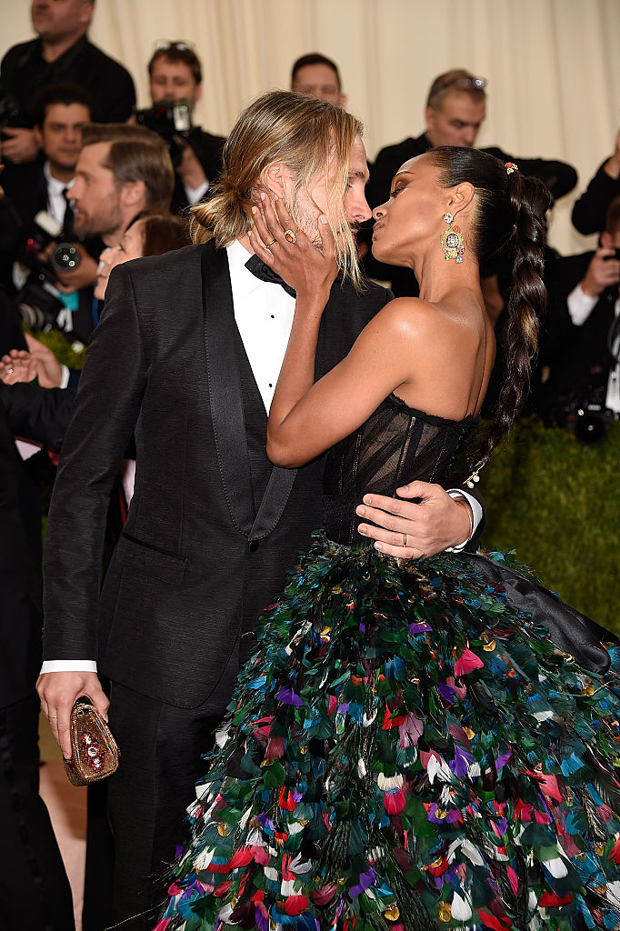 "NEW YORK, NY - MAY 02: Marco Perego and Zoe Saldana attends ""Manus x Machina: Fashion In An Age Of Technology"" Costume Institute Gala at Metropolitan Museum of Art on May 2, 2016 in New York City. (Photo by Kevin Mazur/WireImage)"