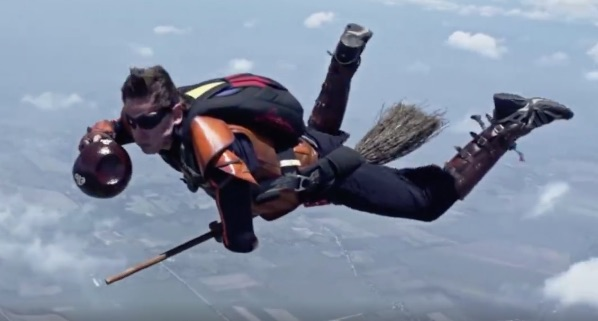 "These very intense ""Harry Potter"" fans played Quidditch while skydiving"