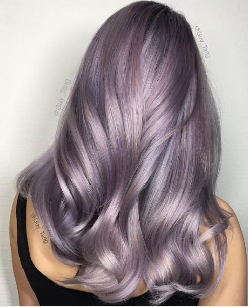 Smoky lilac is the most subtle cool hair