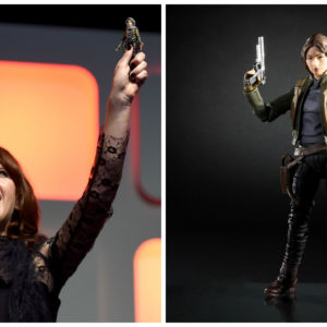 "Felicity Jones revealed her new ""Rogue One: A Star Wars Story"" action figure, and it is giving us LIFE"