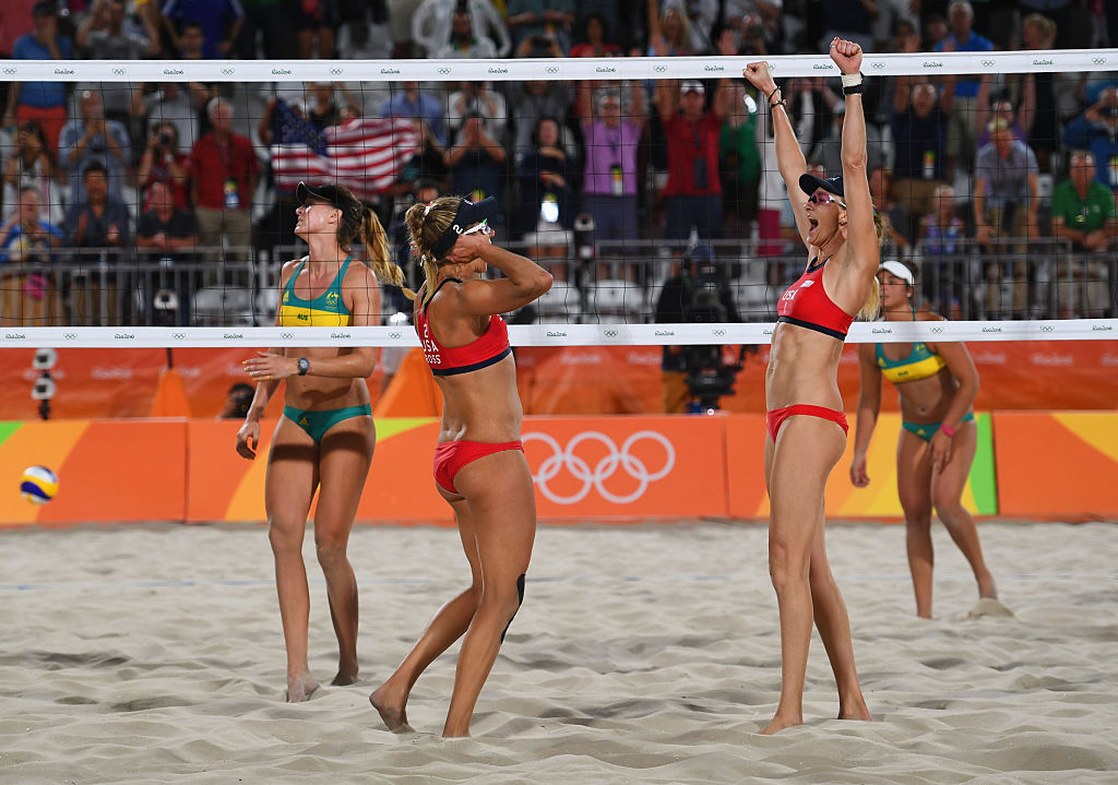 We love the sporty chic Olympic Beach Volleyball bikinis