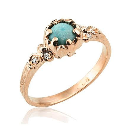 rose gold turquoise engagement ring