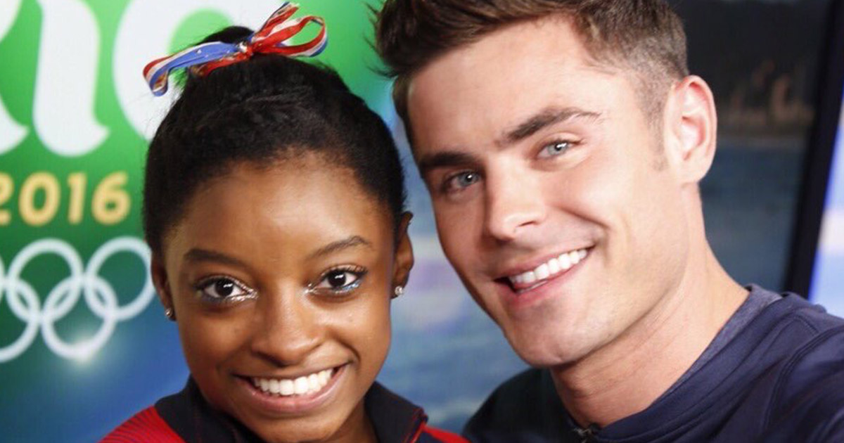 Guys, Simone Biles and Zac Efron *finally* met and #Befron is REAL!