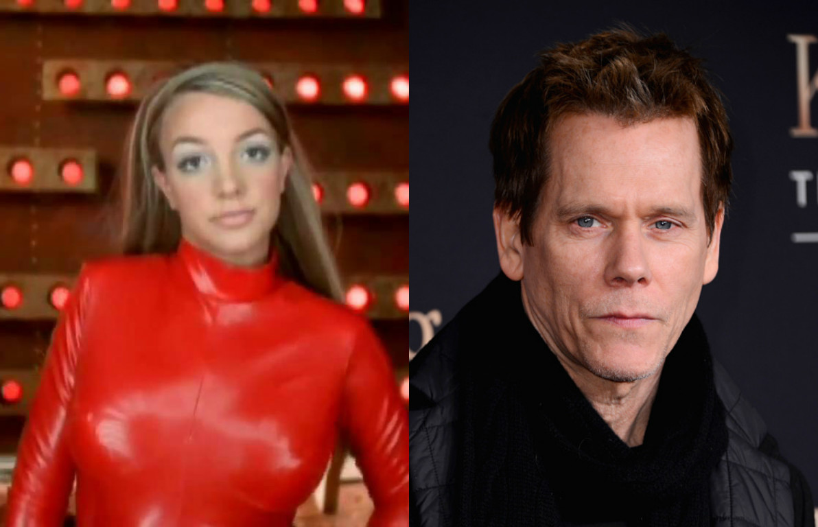 Britney Spears And Kevin Bacon Wearing Her Oops I Did It Again Red