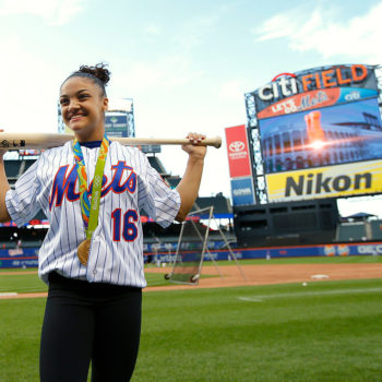 You HAVE to see Laurie Hernandez throw the first pitch at a baseball game