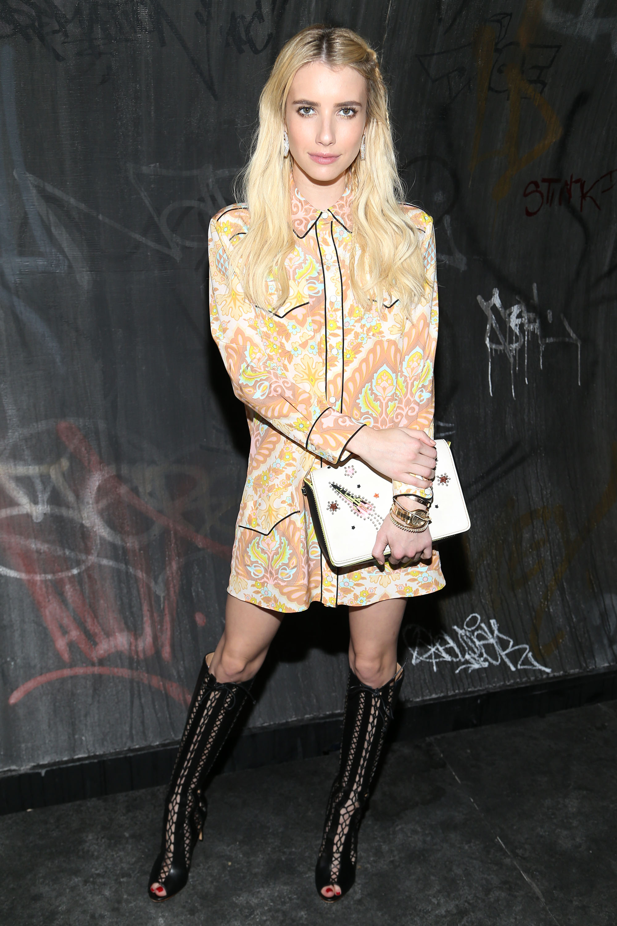 Emma Roberts Looks Like A Pastel Go Go Dancer At New York