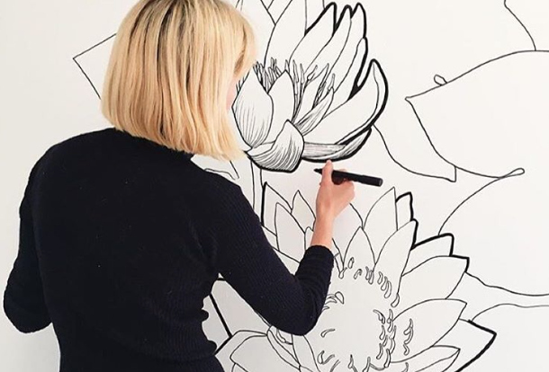 This illustrator creates GIANT floral murals and we want one in every room