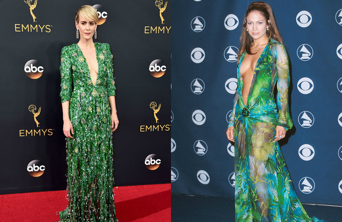 Sarah Paulson S Emmys Look Seems Inspired By J Lo S Iconic