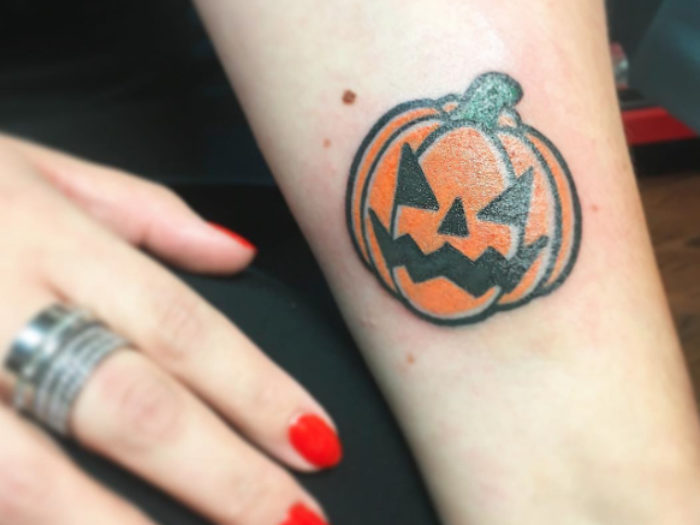 11 pumpkin tattoos to show your undying love for all for Tattoos of pumpkins