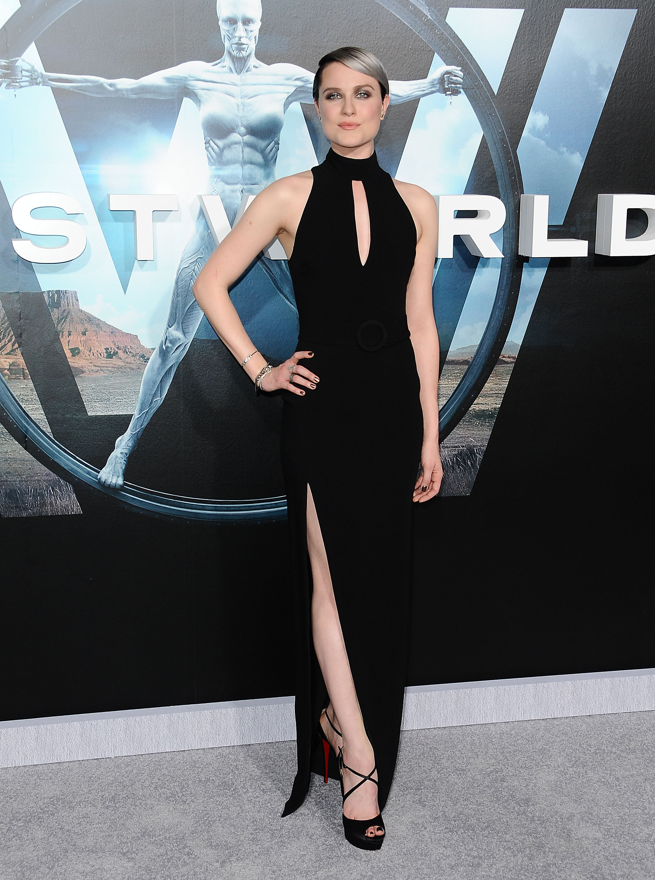 evan rachel woods silver ombre hair at the quotwestworld