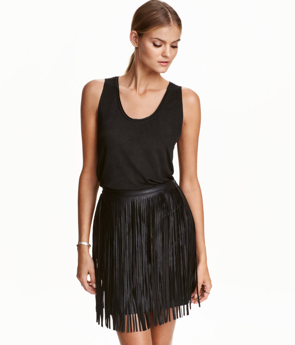 HMs Short Skirt With Fringe