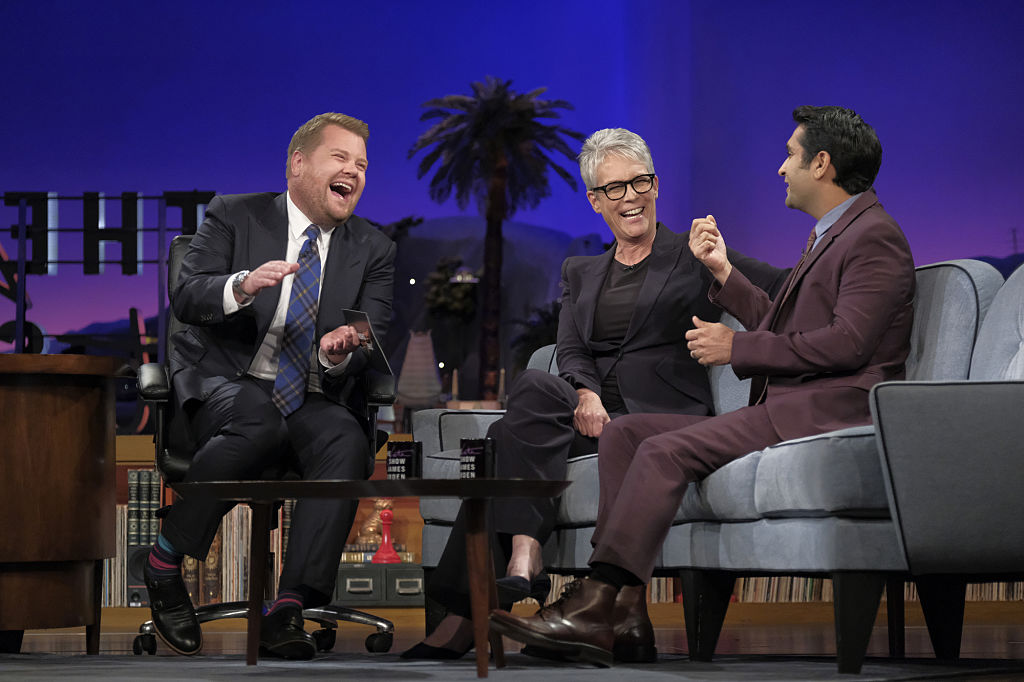 LOS ANGELES - OCTOBER 3: Jamie Lee Curtis and Kumail Nanjiani chat with James Corden during  The Late Late Show with James Corden,  Monday, October 3rd, 2016 (12:35 PM-1:37 AM ET/PT) On The CBS Television Network.  (Photo by Terence Patrick/CBS via Getty Images)
