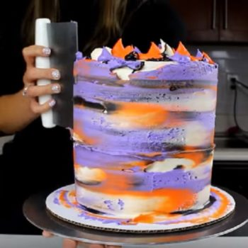 This Halloween cake design was inspired by a dry brush nail design and it's as stunning as it sounds