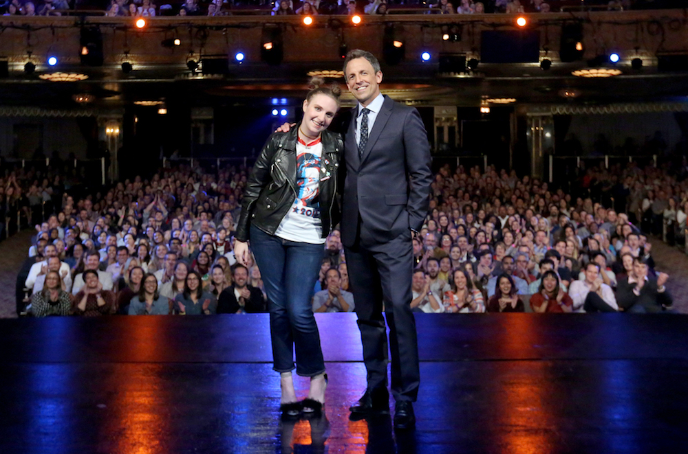 LATE NIGHT WITH SETH MEYERS -- Episode 0434 -- Pictured: (l-r) Actress Lena Dunham and host Seth Meyers pose on October 11, 2016 -- (Photo by: Lloyd Bishop/NBC/NBCU Photo Bank via Getty Images)