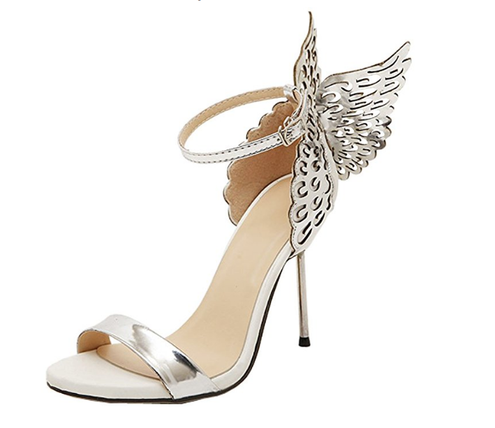 2e5cfd53a95f Harshiono — Women Sexy Ankle Buckle Strap Butterfly Wings High Heel Sandals  Shoes