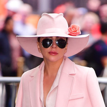 Lady Gaga looks like a bubblegum queen in this all-pink suit
