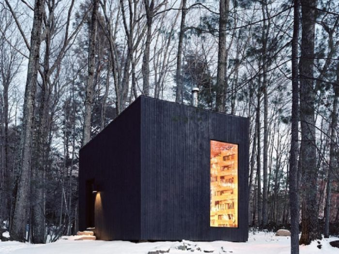 Minimalist Cabin this minimalist cabin in upstate new york is a book-lover's dream