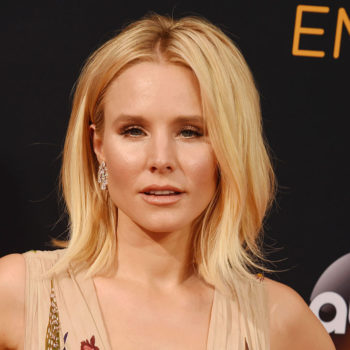 Kristen Bell just dressed for Christmas, but with a gothic twist