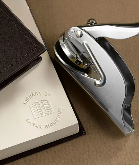 sometimes a booklover loses track of which books they own so this classy book embosser can help them keep track