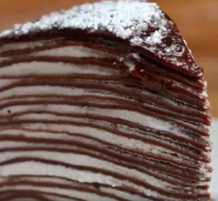 OMG this chocolate crepe cake needs to be the next thing you bake