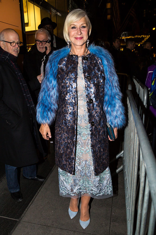 """Dame Helen Mirren's ethereal blue faux fur coat stole the show at the """"Collateral Beauty"""" premiere"""