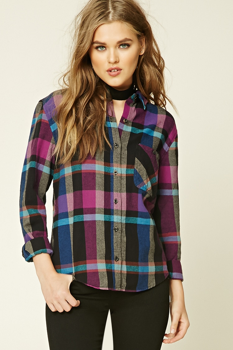 95617f7c8d1 Plaid Flannel Shirt Dress Forever 21