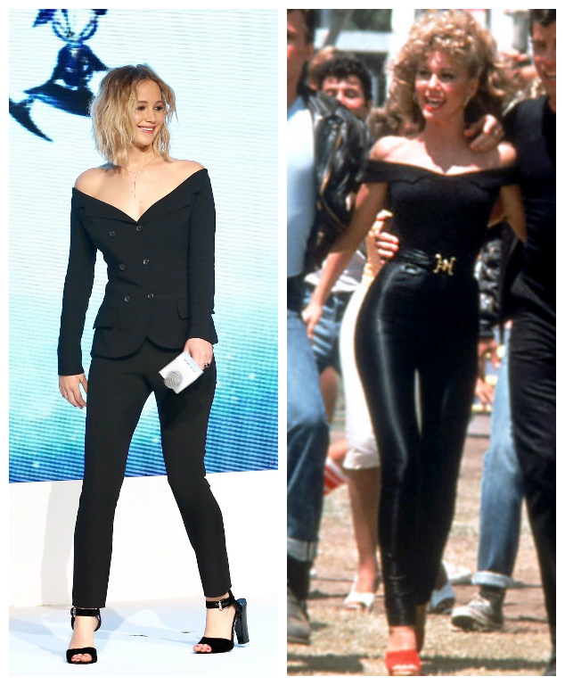 Jennifer Lawrenceu0026#39;s all-black ensemble totally reminds us of Sandy from u0026quot;Greaseu0026quot; - HelloGiggles