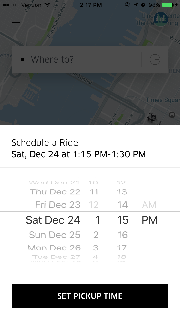 Uber's Scheduled Ride feature