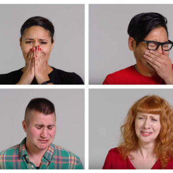 And now here's a video of 100 people giving us their best ugly-crying faces