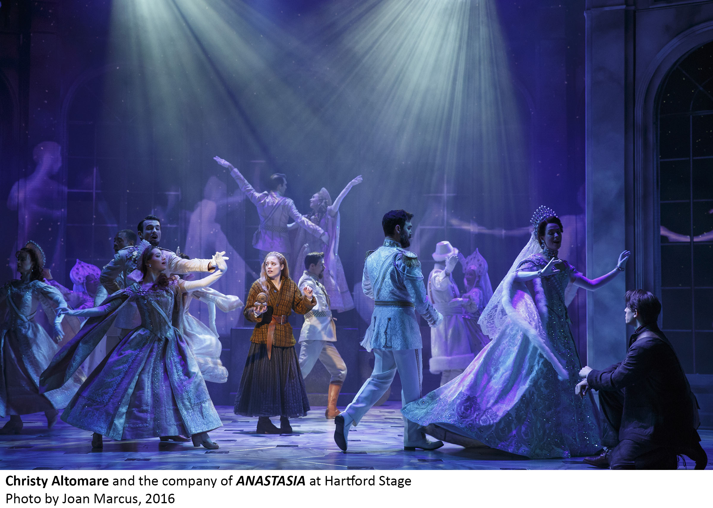 ANASTASIA                               MAY 12 – JUNE 19                               Book by Terrence McNally                               Music by Stephen Flaherty                               Lyrics by Lynn Ahrens                               Inspired by the Twentieth Century Fox Motion Pictures                               Choreography by Peggy Hickey                               Directed by Darko Tresnjak                               ARTISTS                               EVENTS & TALKS                               REVIEWS & PRESS                               BACKGROUND INFO                               Artistic                               Scenic Design                               Alexander DodgeCostume Design                               Linda ChoLighting Design                               Donald HolderSound Design                               Peter HylenskiVideo & Projection Design                               Aaron RhyneWig & Hair Design                               Charles G. LaPointeMusic Director                               Thomas MurrayOrchestrator                               Doug BestermanVocal & Text Coach                               Claudia Hill-SparksMusic Preparation                               Joann Kane Music                               Russell Bartmus & Mark GrahamFight Choreographer                               Jeff BarryCasting                               Telsey + Company                               Craig Burns, CSAVocal Arranger                               Stephen FlahertyDance Music Arranger                               David ChaseAssociate Music Director                               Steven MaloneDramaturg                                Elizabeth WilliamsonProduction Stage Manager                               Bonnie PansonStage Manager                               Trey JohnsonAssistant Stage Manager                               Kelly Hardy                                                              Cast                               Anya                               Christy AltomareTsarina Alexandra, Isadora Duncan                               Lauren BlackmanVlad Popov                               John BoltonAnastasia, Age 6, Prince Alexei Romanov (Understudy)                               Riley BriggsSuitor, Hotel Manager                               James Brown IIISwing                               Maxwell CarmelSuitor, Prince Siegfried In Swan Lake                               Max ClaytonComrade, Coco Chanel                               Janet DickinsonGleb                               Manoel FelcianoTsar Nicholas Ii, Count Ipolitov                               Constantine GermanacosComrade, Gertrude Stein                               Rayanne GonzalesDmitry                               Derek KlenaGorlinsky, Pablo Picasso                               Ken KrugmanComrade, Ernest Hemingway, Count Leopold                               Kevin LigonSwing                               Katherine MclellanMaria Romanov, Marfa, Odette In Swan Lake                               Alida MichalTatiana Romanov, Tatyana, Josephine Baker                               Shina Ann MorrisComrade, Russian Doorman                               Kevin MunhallCountess Lily Malevsky-Malevitch                               Caroline O'ConnorDowager Empress                               Mary Beth PeilAnastasia, Age 17, Anna                                Molly RushingAnastasia, Age 6, Prince Alexei Romanov                               Nicole ScimecaVon Rothbart In Swan Lake, Django Reinhardt, Dance Captain                               Johnny StellardOlga Romanov, Comrade, Cygnet In Swan Lake                               Samantha Sturm