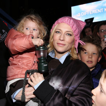 """Cate Blanchett rocked a """"pussy hat"""" at a rally with her daughter (and here's how to get one of your own)"""