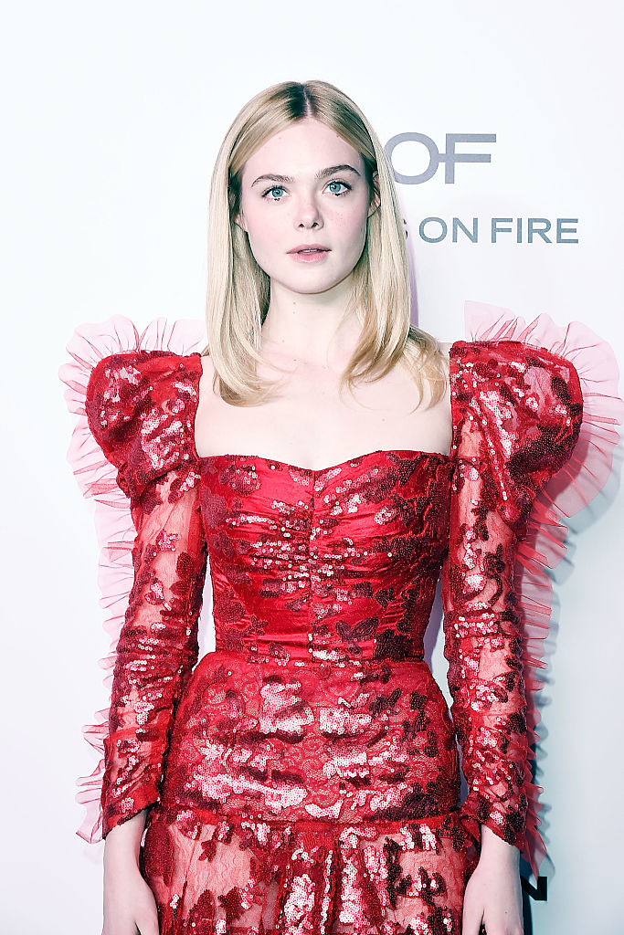 Elle Fanning's fluffy red dress looks like a heart, and is giving us totally tubular '80s vibes