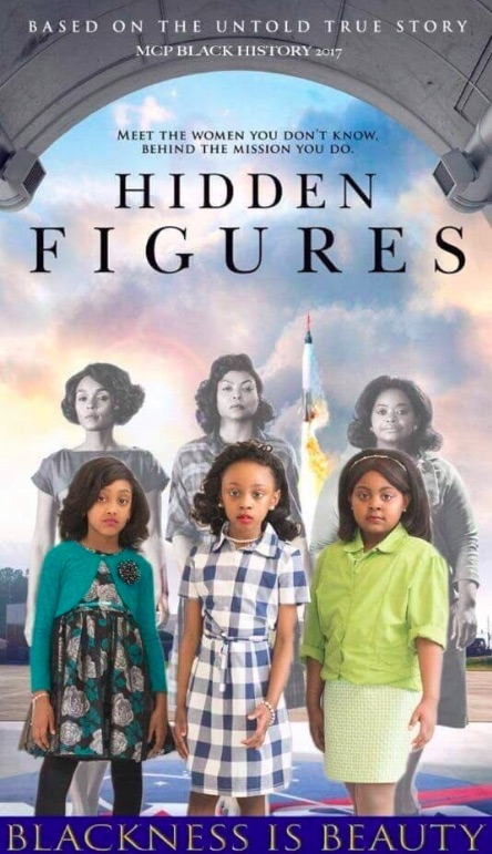"These little girls recreated the ""Hidden Figures"" poster, and it's perfection"