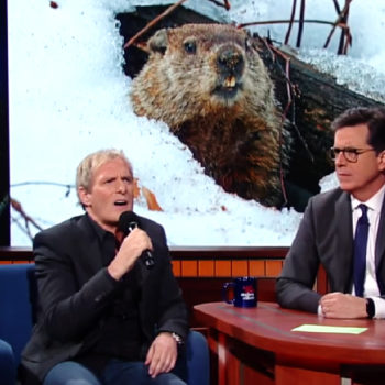 "Michael Bolton debuted a ""sexy"" Groundhog Day song with Stephen Colbert, and yes, you read that right"
