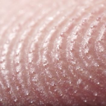This close-up view of a fingertip sweating is *so* creepy, but we can't stop watching
