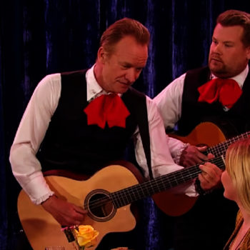 Sting and James Corden dressed up like singing waiters for a musical duel, and we can't stop laughing