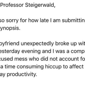 This girl sent an email to her professor about her breakup, and the internet is obsessed