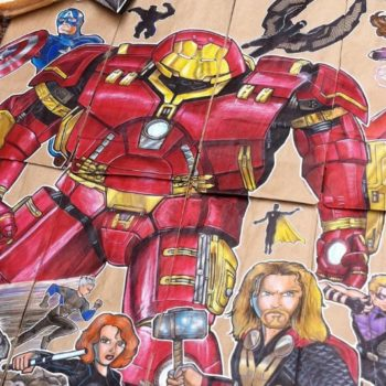 This dad draws amazing pop art on his son's lunch bag every single day
