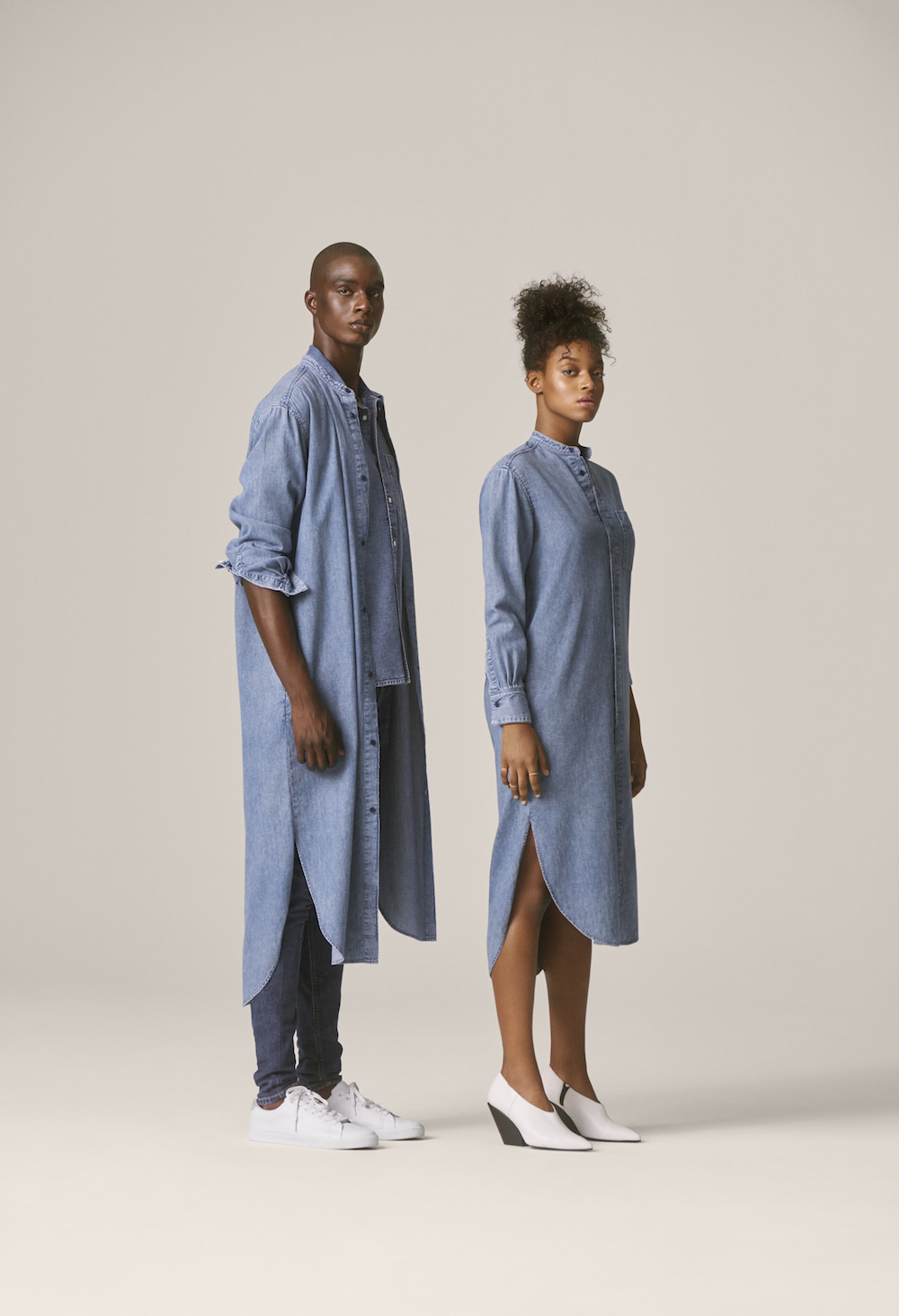 h m is breaking down gender barrier walls with a unisex denim collection hellogiggles. Black Bedroom Furniture Sets. Home Design Ideas
