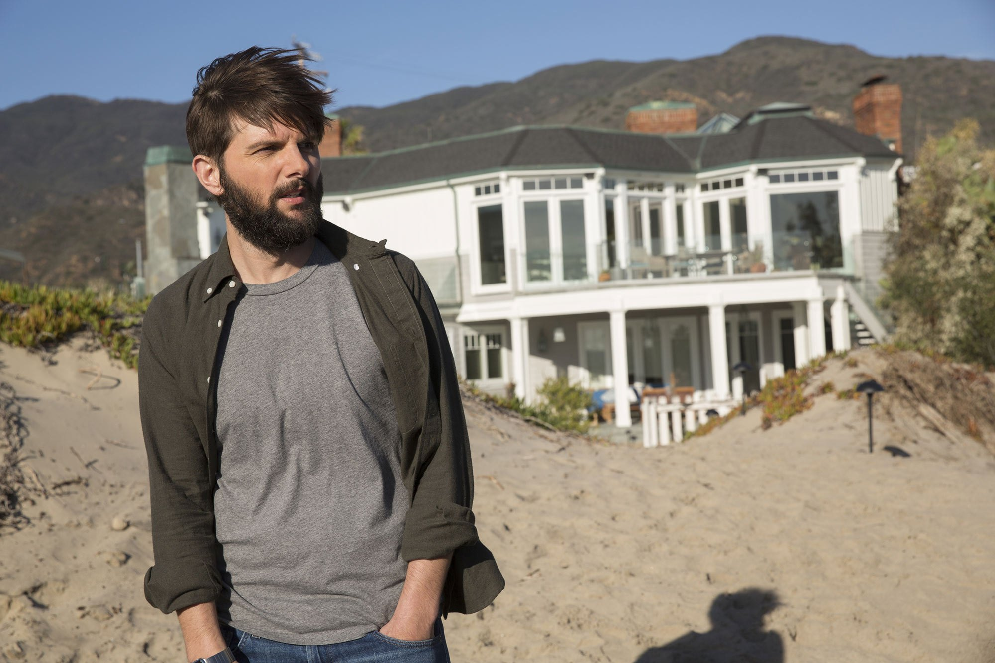"It appears as if Adam Scott is in the process of re-growing his ""Big Little Lies"" beard for Season 2"