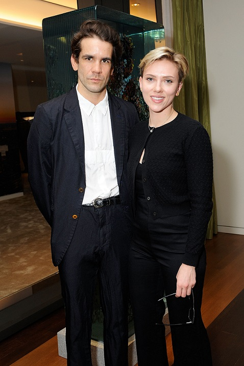 NEW YORK, NY - APRIL 05:  Romain Dauriac and Scarlett Johansson attend the Singular Object Art Opening Cocktail Reception at 53W53 Gallery on April 5, 2017 in New York City.  (Photo by Rabbani and Solimene Photography/Getty Images)